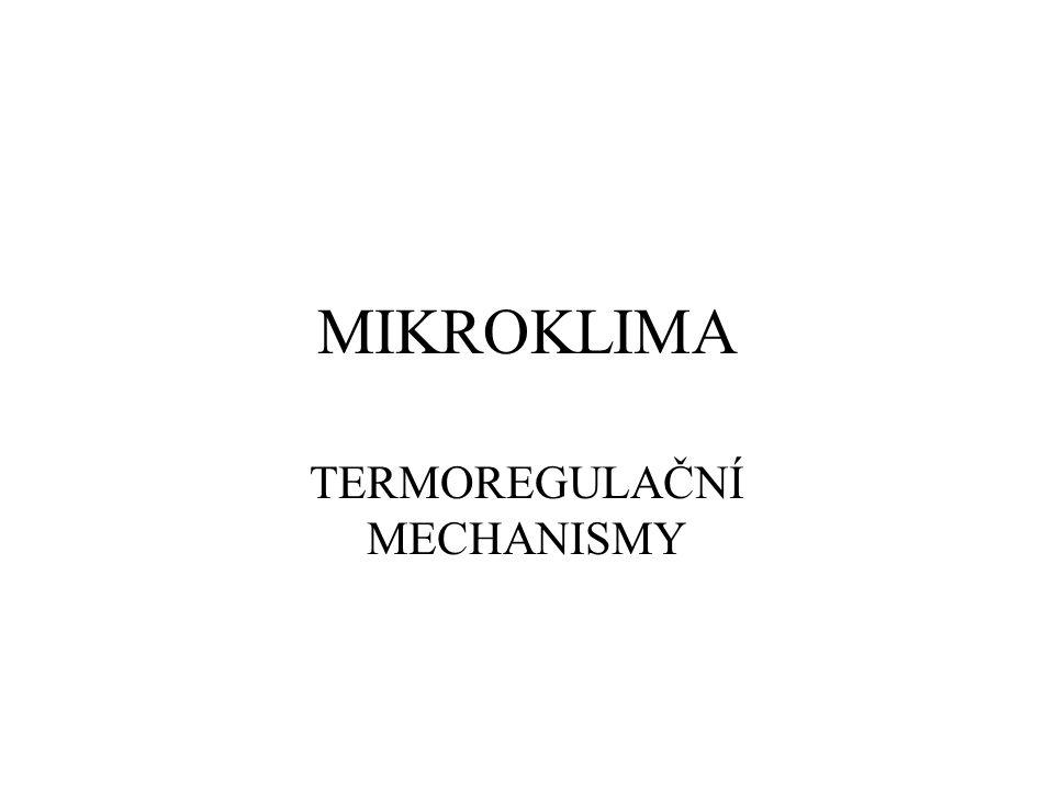 MIKROKLIMA TERMOREGULAČNÍ MECHANISMY