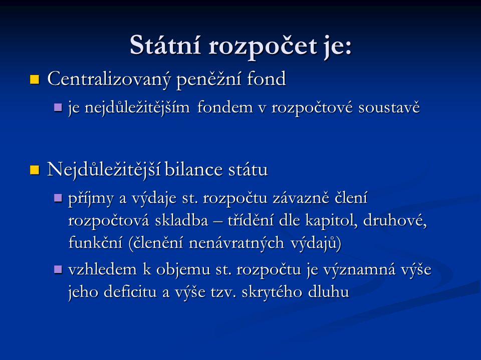 Státní rozpočet je: Centralizovaný peněžní fond Centralizovaný peněžní fond je nejdůležitějším fondem v rozpočtové soustavě je nejdůležitějším fondem v rozpočtové soustavě Nejdůležitější bilance státu Nejdůležitější bilance státu příjmy a výdaje st.
