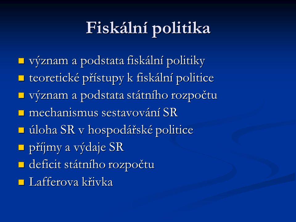 Fiskální politika význam a podstata fiskální politiky význam a podstata fiskální politiky teoretické přístupy k fiskální politice teoretické přístupy