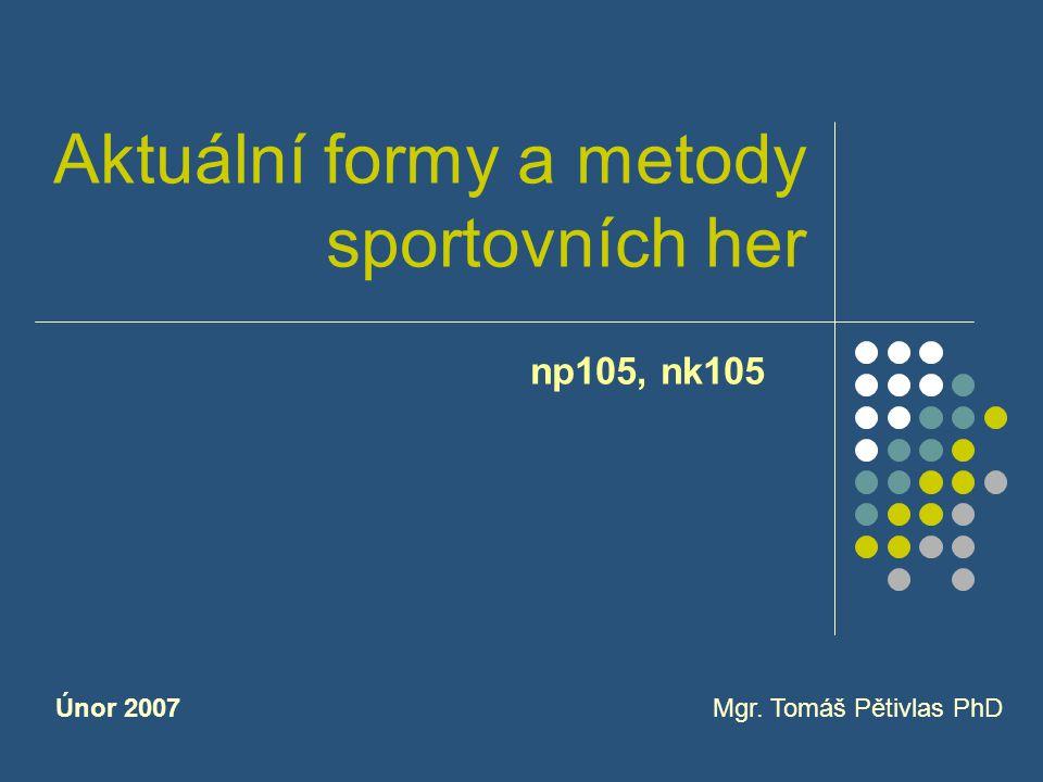 Aktuální formy a metody sportovních her np105, nk105 Mgr. Tomáš Pětivlas PhDÚnor 2007