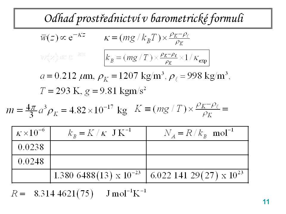 11 Odhad prostřednictví v barometrické formuli