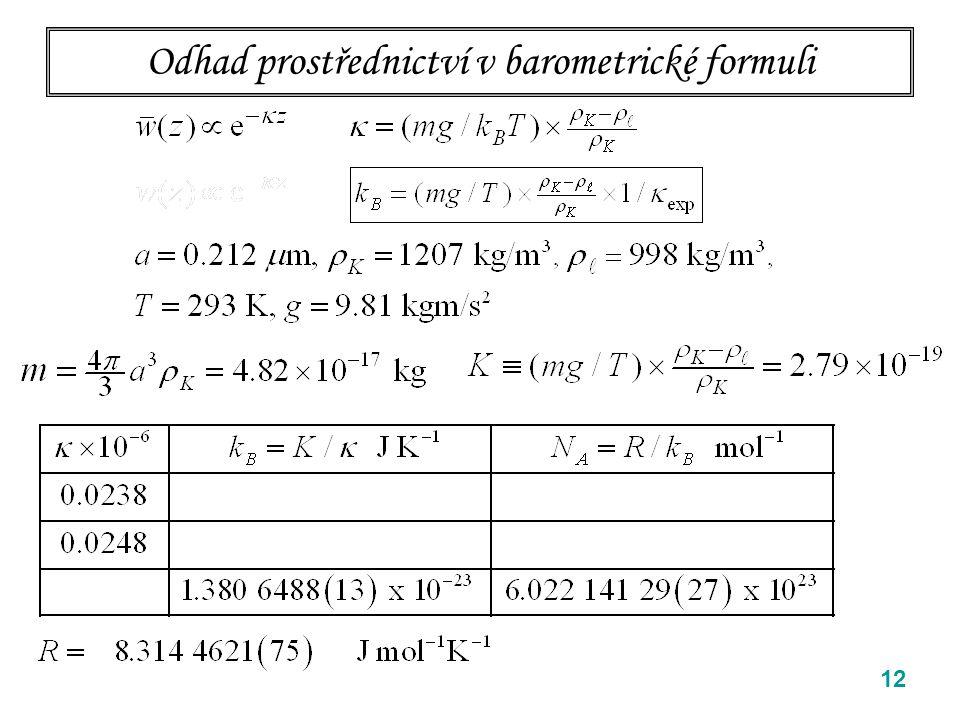 12 Odhad prostřednictví v barometrické formuli