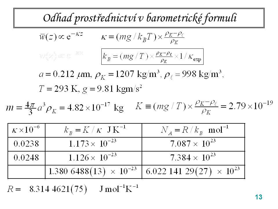 13 Odhad prostřednictví v barometrické formuli