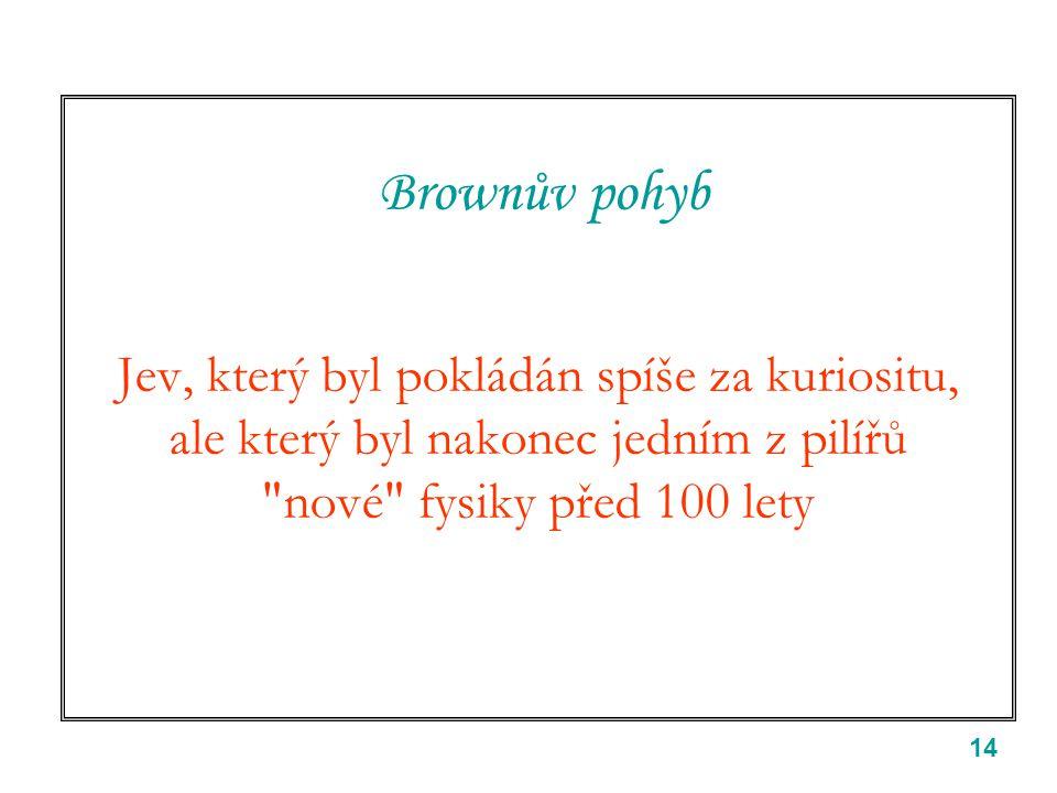 14 Brownův pohyb Jev, který byl pokládán spíše za kuriositu, ale který byl nakonec jedním z pilířů