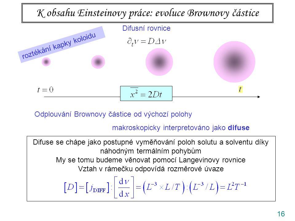 16 K obsahu Einsteinovy práce: evoluce Brownovy částice Difusní rovnice Odplouvání Brownovy částice od výchozí polohy makroskopicky interpretováno jak
