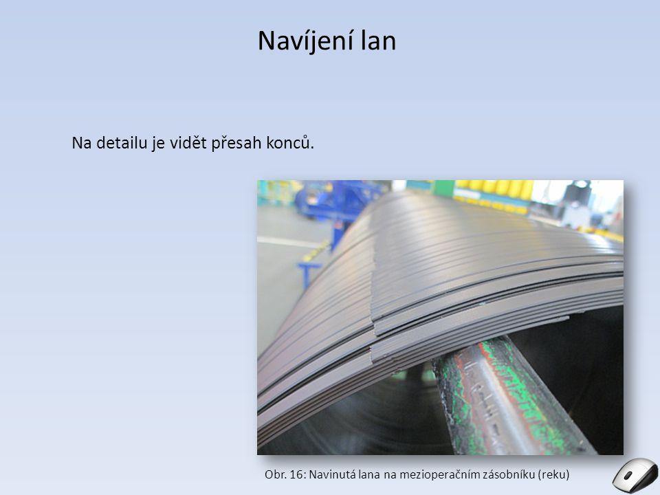 Navíjení lan Na detailu je vidět přesah konců. Obr. 16: Navinutá lana na mezioperačním zásobníku (reku) Obr. 8: SMR v Barumu