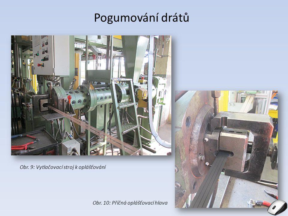 Pogumování drátů Obr. 10: Příčná oplášťovací hlava Obr. 9: Vytlačovací stroj k oplášťování