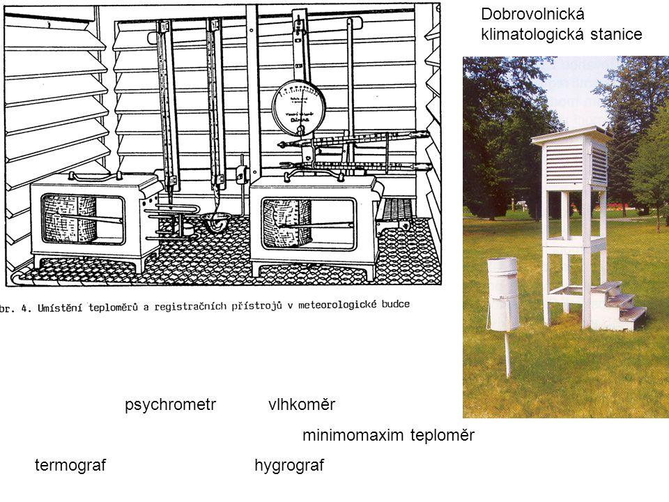 psychrometr vlhkoměr minimomaxim teploměr termograf hygrograf Dobrovolnická klimatologická stanice