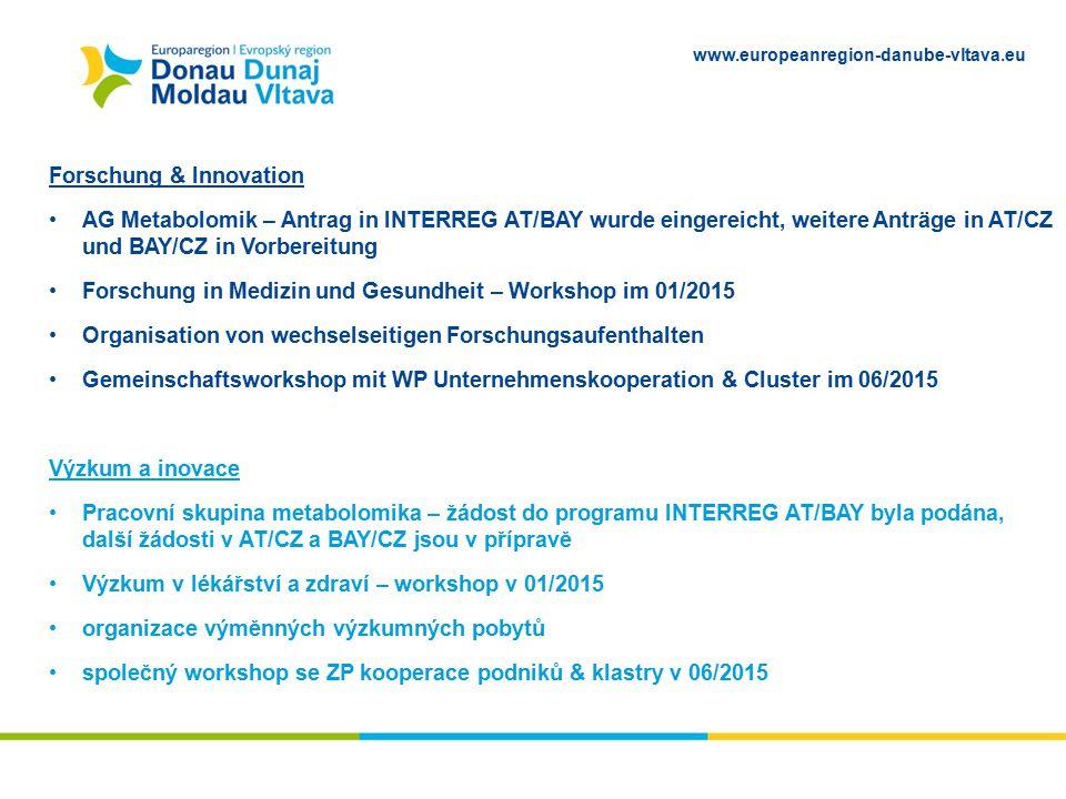 www.europeanregion-danube-vltava.eu Forschung & Innovation AG Metabolomik – Antrag in INTERREG AT/BAY wurde eingereicht, weitere Anträge in AT/CZ und