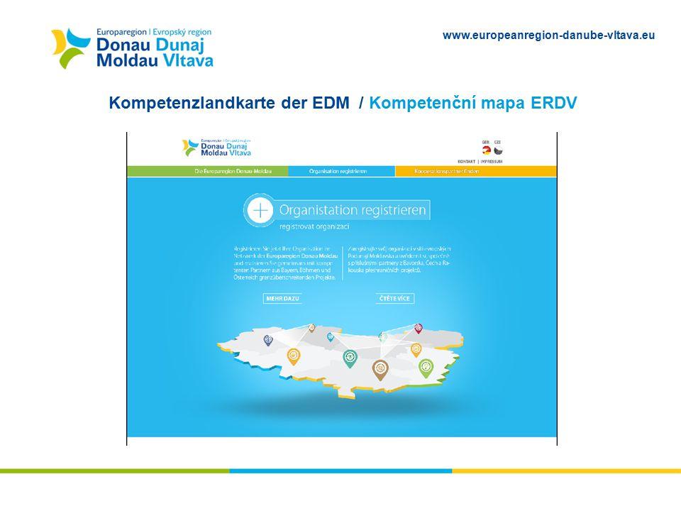 www.europeanregion-danube-vltava.eu Kompetenzlandkarte der EDM / Kompetenční mapa ERDV