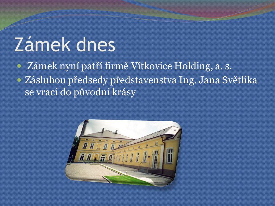 Zámek dnes Zámek nyní patří firmě Vítkovice Holding, a.