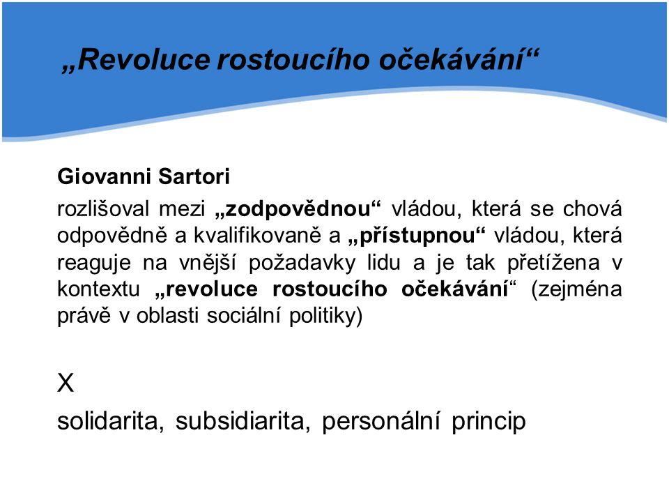 """Giovanni Sartori rozlišoval mezi """"zodpovědnou"""" vládou, která se chová odpovědně a kvalifikovaně a """"přístupnou"""" vládou, která reaguje na vnější požadav"""