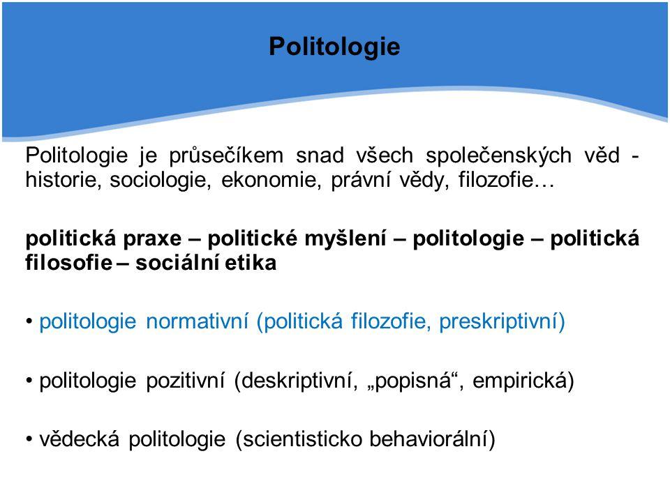 Politologie Politologie je průsečíkem snad všech společenských věd - historie, sociologie, ekonomie, právní vědy, filozofie… politická praxe – politic