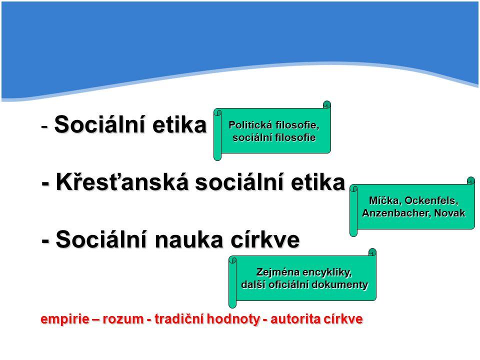 - Sociální etika - Křesťanská sociální etika - Sociální nauka církve empirie – rozum - tradiční hodnoty - autorita církve Míčka, Ockenfels, Anzenbache
