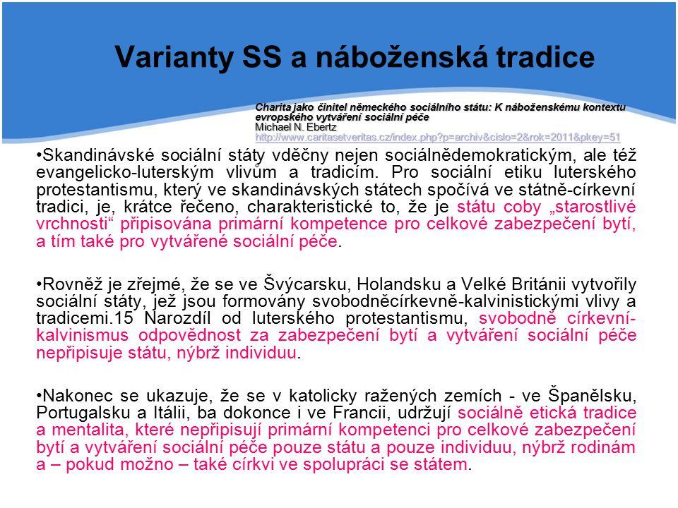 Varianty SS a náboženská tradice Skandinávské sociální státy vděčny nejen sociálnědemokratickým, ale též evangelicko-luterským vlivům a tradicím. Pro