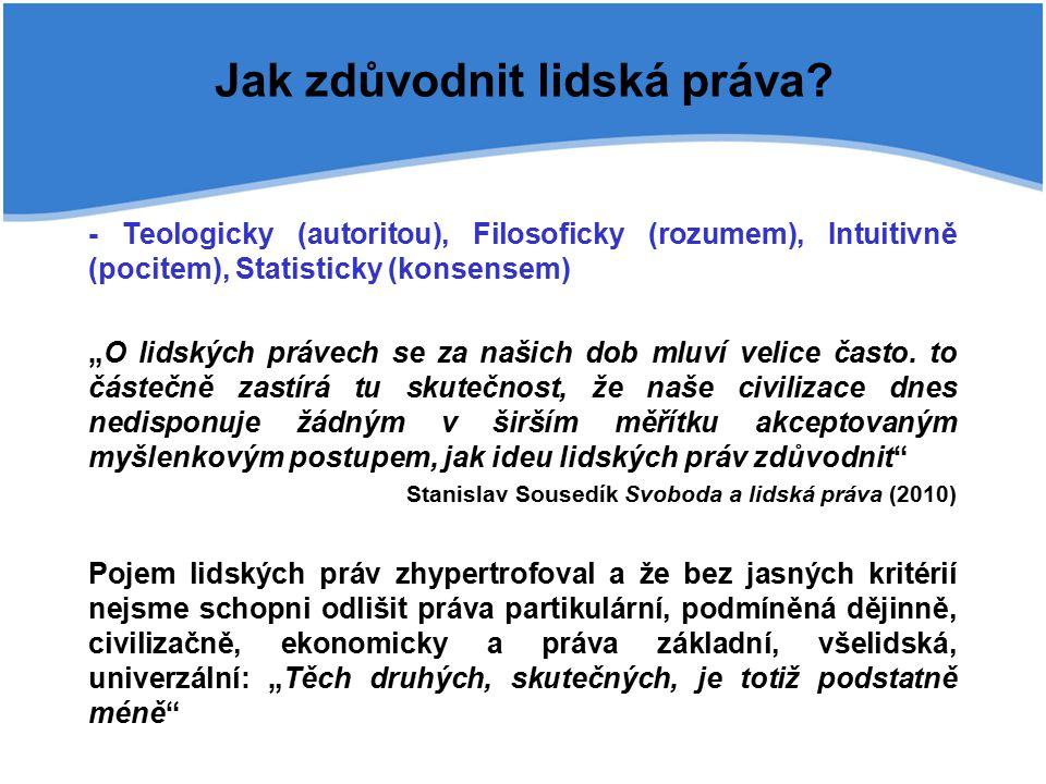 """Jak zdůvodnit lidská práva? - Teologicky (autoritou), Filosoficky (rozumem), Intuitivně (pocitem), Statisticky (konsensem) """"O lidských právech se za n"""