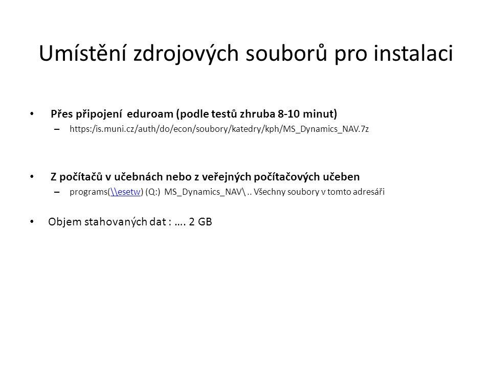 Umístění zdrojových souborů pro instalaci Přes připojení eduroam (podle testů zhruba 8-10 minut) – https:/is.muni.cz/auth/do/econ/soubory/katedry/kph/MS_Dynamics_NAV.7z Z počítačů v učebnách nebo z veřejných počítačových učeben – programs(\\esetw) (Q:) MS_Dynamics_NAV\..