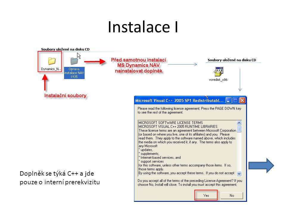 Instalace I Doplněk se týká C++ a jde pouze o interní prerekvizitu