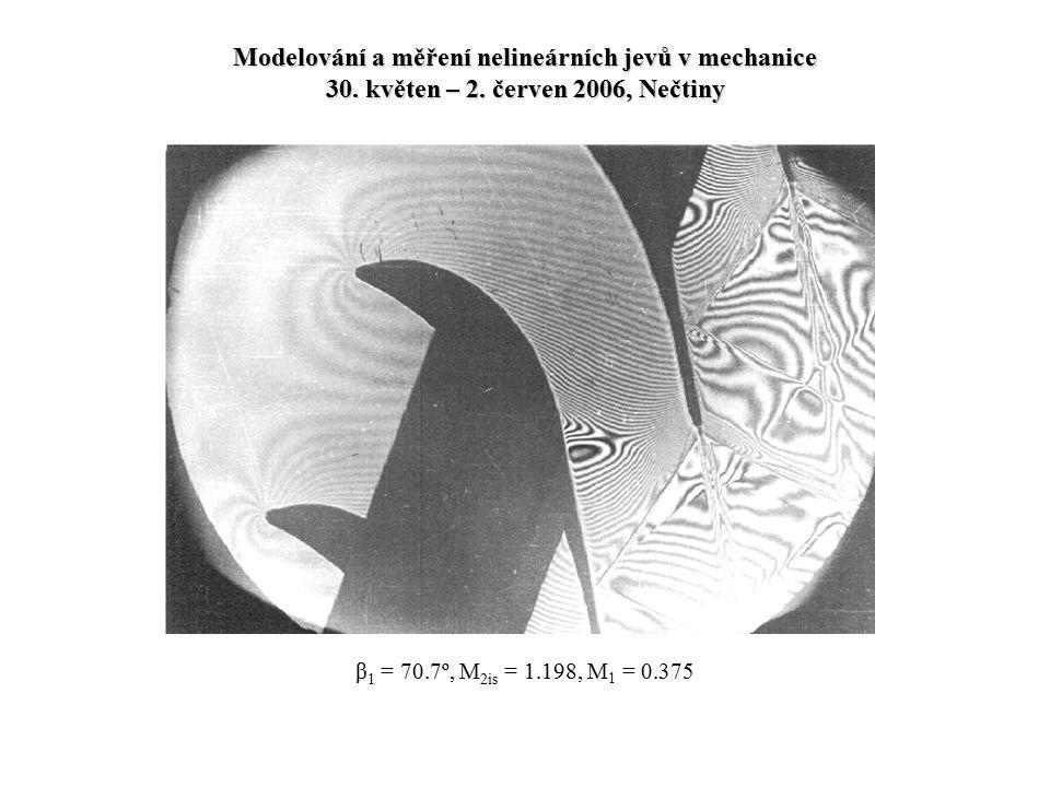 β 1 = 70.7º, M 2is = 1.198, M 1 = 0.375 Modelování a měření nelineárních jevů v mechanice 30. květen – 2. červen 2006, Nečtiny