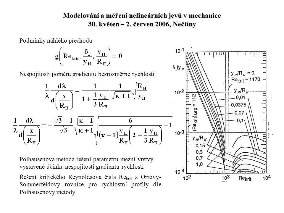 Modelování a měření nelineárních jevů v mechanice 30. květen – 2. červen 2006, Nečtiny Podmínky náhlého přechodu Nespojitosti poměru gradientu bezrozm