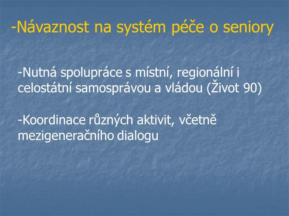 -Návaznost na systém péče o seniory -Nutná spolupráce s místní, regionální i celostátní samosprávou a vládou (Život 90) -Koordinace různých aktivit, včetně mezigeneračního dialogu