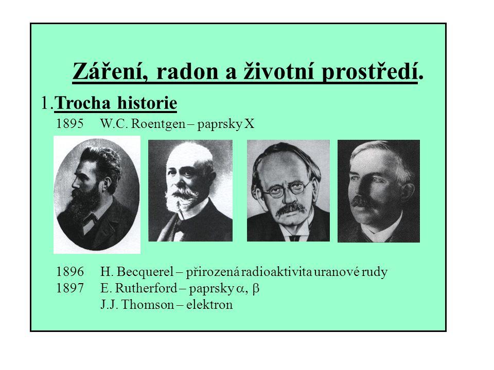 Záření, radon a životní prostředí. 1.Trocha historie 1895 W.C. Roentgen – paprsky X 1896 H. Becquerel – přirozená radioaktivita uranové rudy 1897 E. R