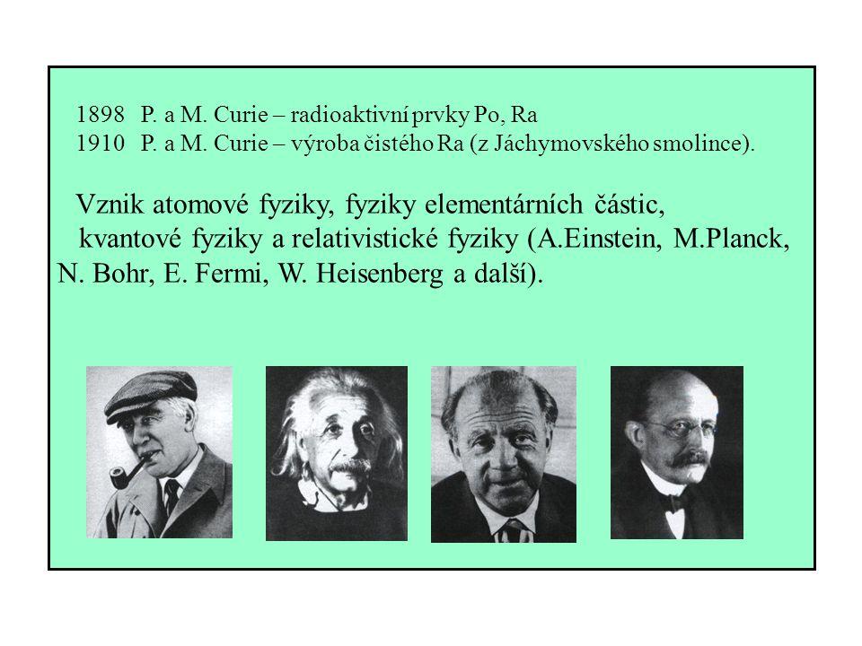 1898 P. a M. Curie – radioaktivní prvky Po, Ra 1910 P. a M. Curie – výroba čistého Ra (z Jáchymovského smolince). Vznik atomové fyziky, fyziky element