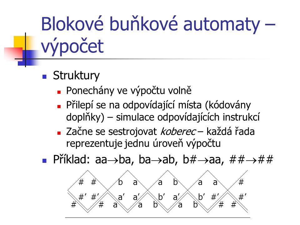 Blokové buňkové automaty – výpočet Struktury Ponechány ve výpočtu volně Přilepí se na odpovídající místa (kódovány doplňky) – simulace odpovídajících instrukcí Začne se sestrojovat koberec – každá řada reprezentuje jednu úroveň výpočtu Příklad: aa  ba, ba  ab, b#  aa, ##  ## #abb##aa# # #'#'#'#' #b a' a ab b'a' aa b'#'#'#'#' #
