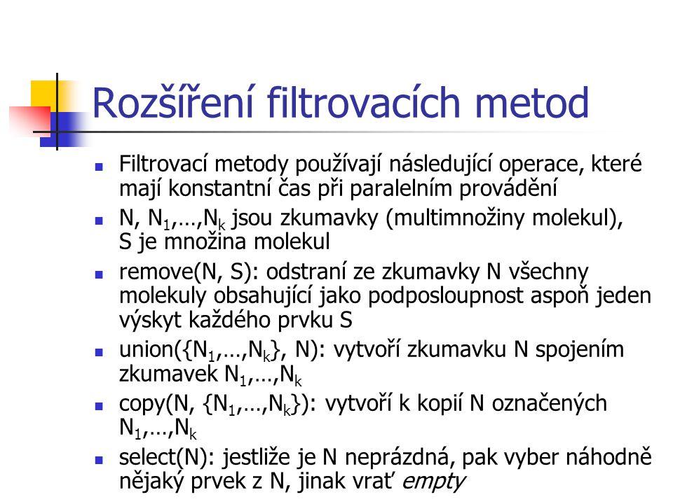 Rozšíření filtrovacích metod Filtrovací metody používají následující operace, které mají konstantní čas při paralelním provádění N, N 1,…,N k jsou zkumavky (multimnožiny molekul), S je množina molekul remove(N, S): odstraní ze zkumavky N všechny molekuly obsahující jako podposloupnost aspoň jeden výskyt každého prvku S union({N 1,…,N k }, N): vytvoří zkumavku N spojením zkumavek N 1,…,N k copy(N, {N 1,…,N k }): vytvoří k kopií N označených N 1,…,N k select(N): jestliže je N neprázdná, pak vyber náhodně nějaký prvek z N, jinak vrať empty