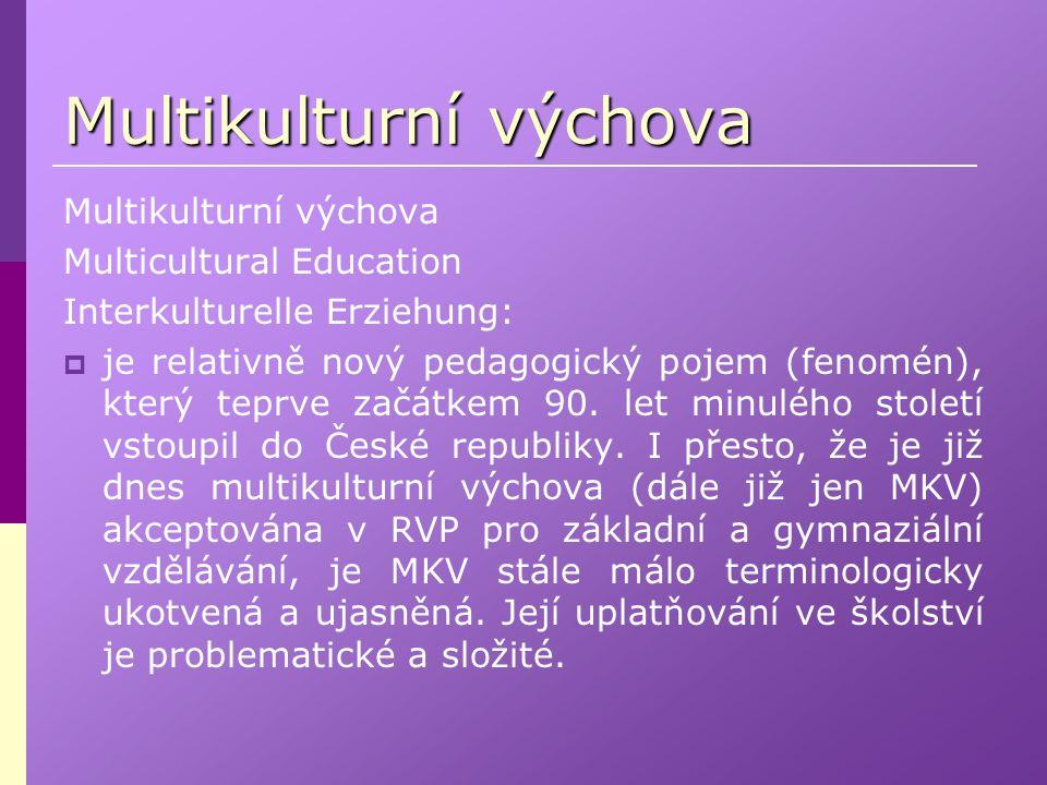 Multicultural Education Interkulturelle Erziehung:  je relativně nový pedagogický pojem (fenomén), který teprve začátkem 90. let minulého století vst