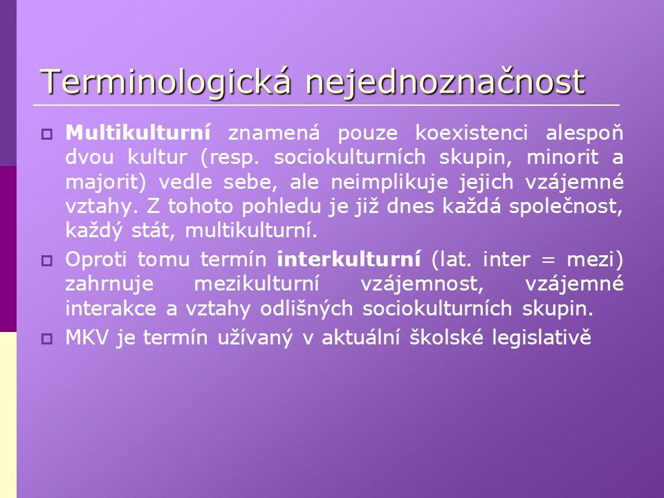 Terminologická nejednoznačnost  Multikulturní znamená pouze koexistenci alespoň dvou kultur (resp. sociokulturních skupin, minorit a majorit) vedle s