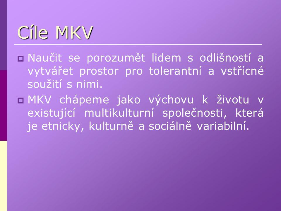 Cíle MKV  Naučit se porozumět lidem s odlišností a vytvářet prostor pro tolerantní a vstřícné soužití s nimi.  MKV chápeme jako výchovu k životu v e