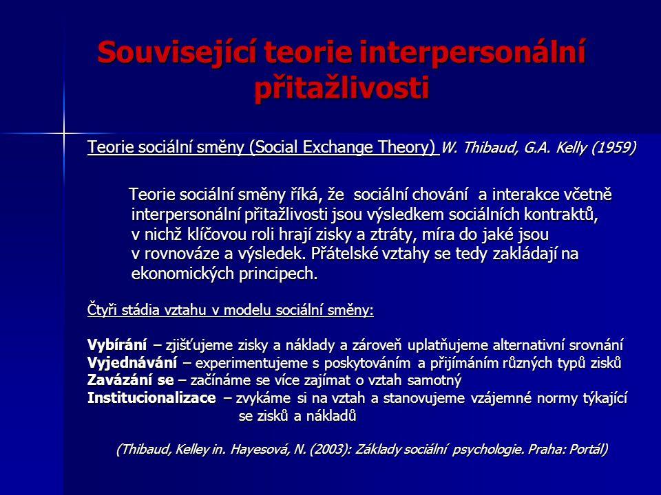 Související teorie interpersonální přitažlivosti Teorie sociální směny (Social Exchange Theory) W. Thibaud, G.A. Kelly (1959) Teorie sociální směny ří
