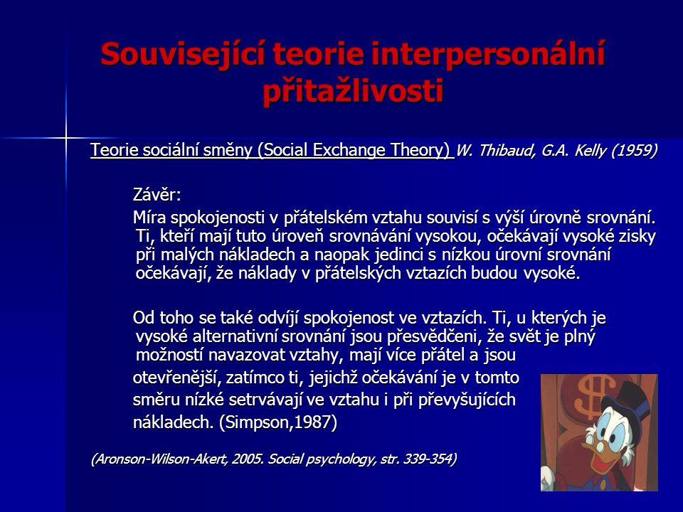 Související teorie interpersonální přitažlivosti Teorie sociální směny (Social Exchange Theory) W. Thibaud, G.A. Kelly (1959) Závěr: Závěr: Míra spoko