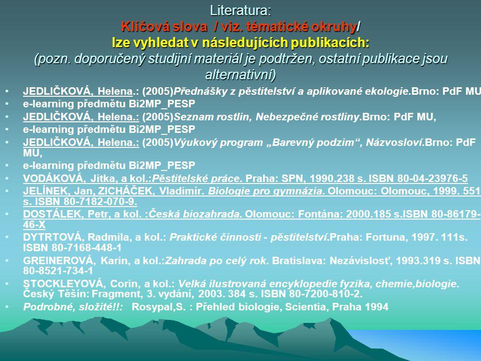 Literatura: Klíčová slova / viz.tématické okruhy/ lze vyhledat v následujících publikacích: (pozn.