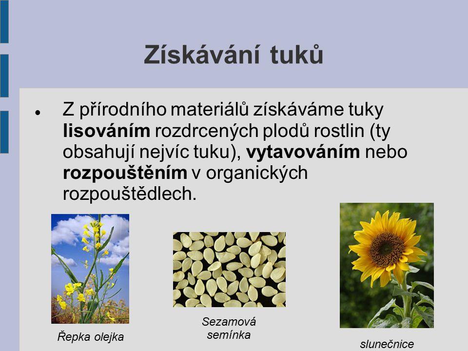 Získávání tuků Z přírodního materiálů získáváme tuky lisováním rozdrcených plodů rostlin (ty obsahují nejvíc tuku), vytavováním nebo rozpouštěním v or