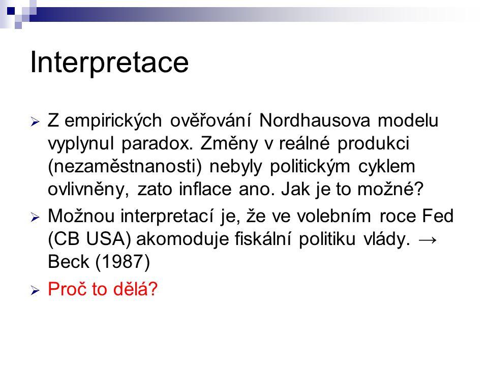 Interpretace  Z empirických ověřování Nordhausova modelu vyplynul paradox. Změny v reálné produkci (nezaměstnanosti) nebyly politickým cyklem ovlivně
