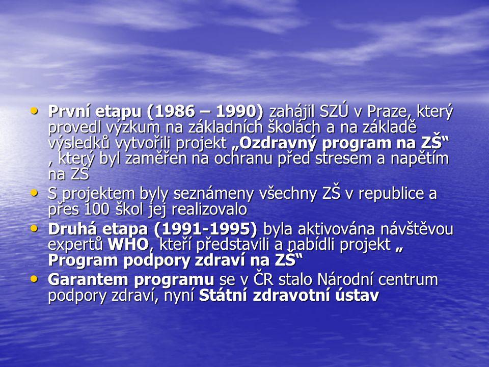 """První etapu (1986 – 1990) zahájil SZÚ v Praze, který provedl výzkum na základních školách a na základě výsledků vytvořili projekt """"Ozdravný program na ZŠ , který byl zaměřen na ochranu před stresem a napětím na ZŠ První etapu (1986 – 1990) zahájil SZÚ v Praze, který provedl výzkum na základních školách a na základě výsledků vytvořili projekt """"Ozdravný program na ZŠ , který byl zaměřen na ochranu před stresem a napětím na ZŠ S projektem byly seznámeny všechny ZŠ v republice a přes 100 škol jej realizovalo S projektem byly seznámeny všechny ZŠ v republice a přes 100 škol jej realizovalo Druhá etapa (1991-1995) byla aktivována návštěvou expertů WHO, kteří představili a nabídli projekt """" Program podpory zdraví na ZŠ Druhá etapa (1991-1995) byla aktivována návštěvou expertů WHO, kteří představili a nabídli projekt """" Program podpory zdraví na ZŠ Garantem programu se v ČR stalo Národní centrum podpory zdraví, nyní Státní zdravotní ústav Garantem programu se v ČR stalo Národní centrum podpory zdraví, nyní Státní zdravotní ústav"""