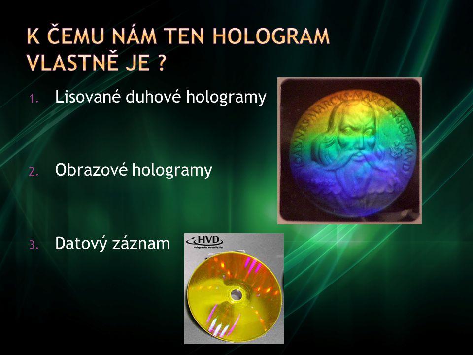 1. Lisované duhové hologramy 2. Obrazové hologramy 3. Datový záznam