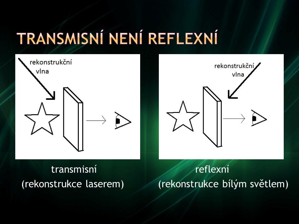 transmisní reflexní (rekonstrukce laserem) (rekonstrukce bílým světlem)