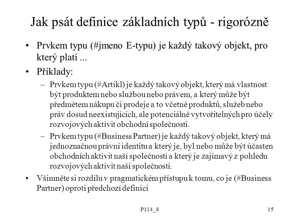 P114_815 Jak psát definice základních typů - rigorózně Prvkem typu (#jmeno E-typu) je každý takový objekt, pro který platí... Příklady: –Prvkem typu (