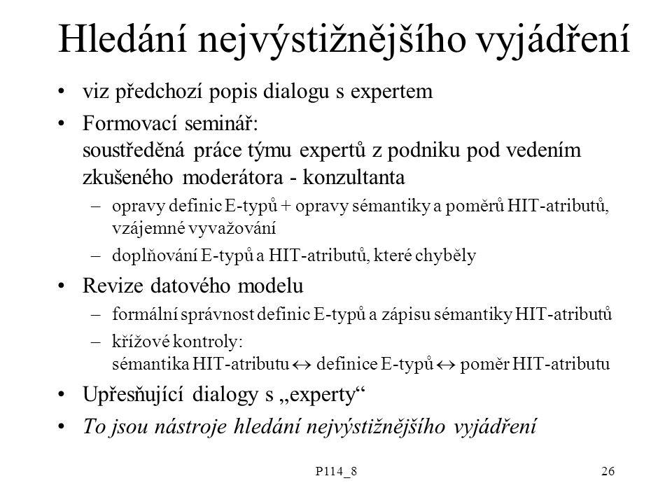 P114_826 Hledání nejvýstižnějšího vyjádření viz předchozí popis dialogu s expertem Formovací seminář: soustředěná práce týmu expertů z podniku pod ved