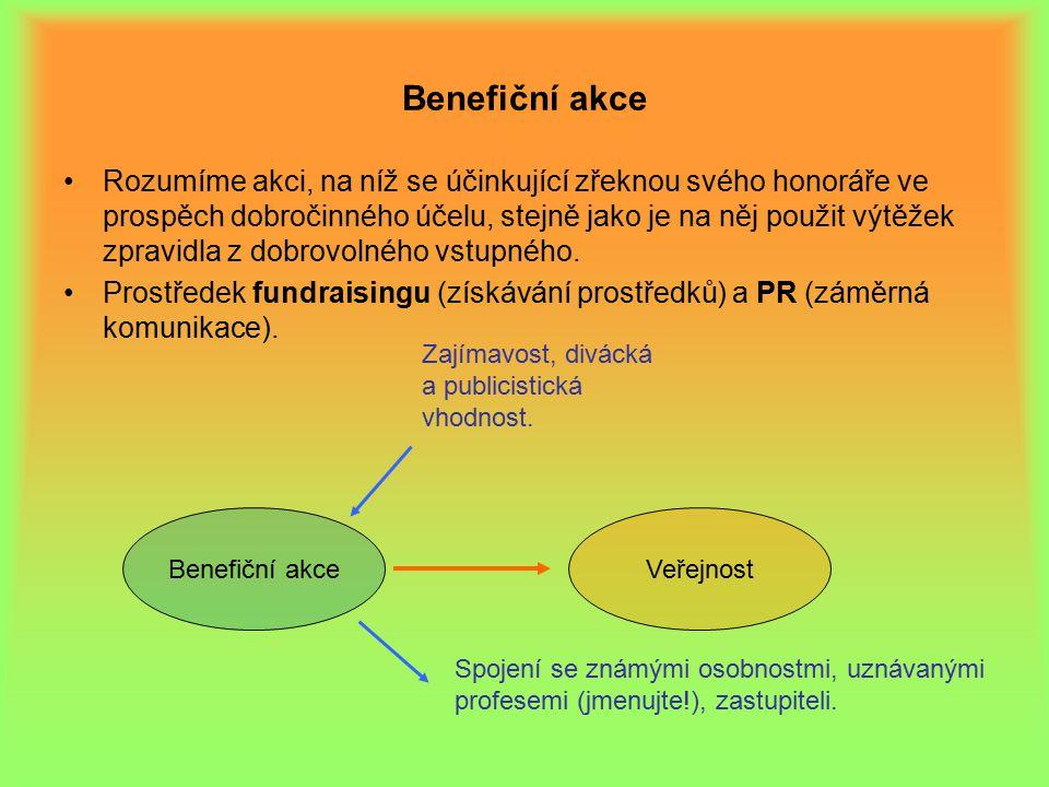 Benefiční akce Rozumíme akci, na níž se účinkující zřeknou svého honoráře ve prospěch dobročinného účelu, stejně jako je na něj použit výtěžek zpravidla z dobrovolného vstupného.