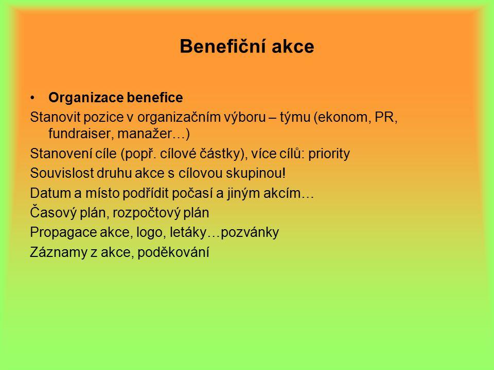 Benefiční akce Organizace benefice Stanovit pozice v organizačním výboru – týmu (ekonom, PR, fundraiser, manažer…) Stanovení cíle (popř.