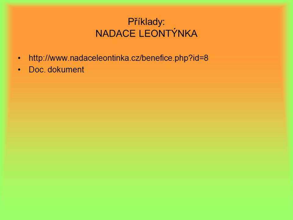 Příklady: NADACE LEONTÝNKA http://www.nadaceleontinka.cz/benefice.php?id=8 Doc. dokument