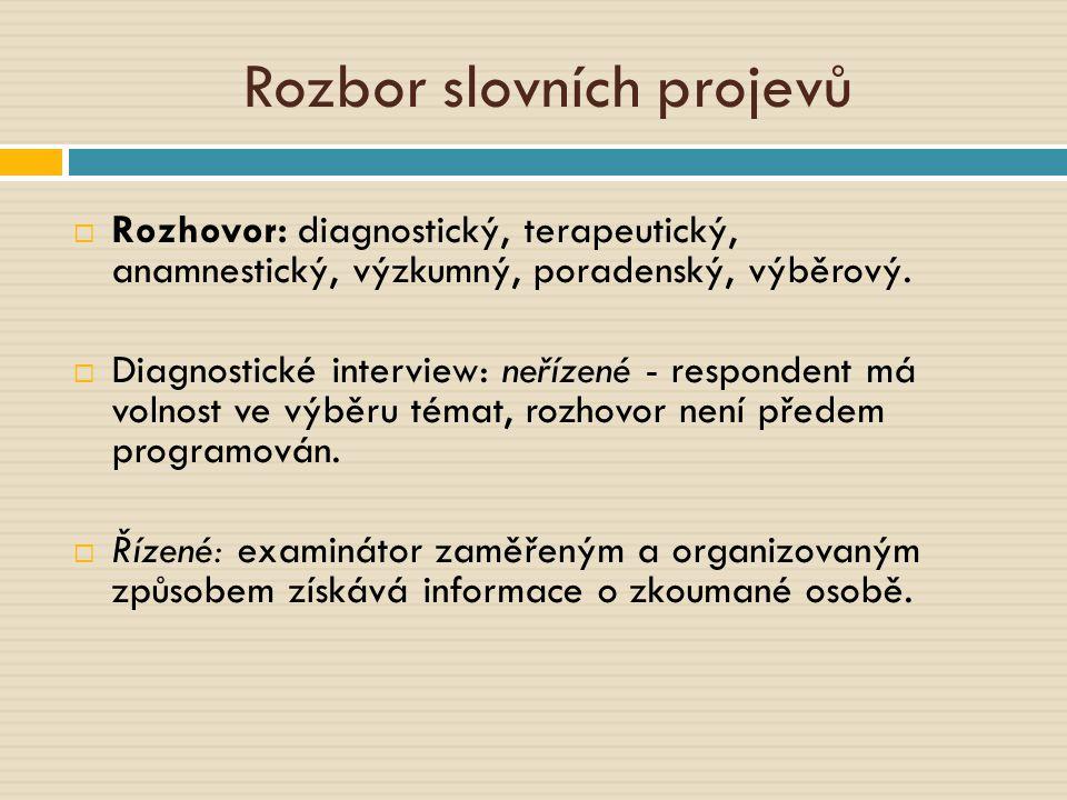 Rozbor slovních projevů  Rozhovor: diagnostický, terapeutický, anamnestický, výzkumný, poradenský, výběrový.  Diagnostické interview: neřízené - res