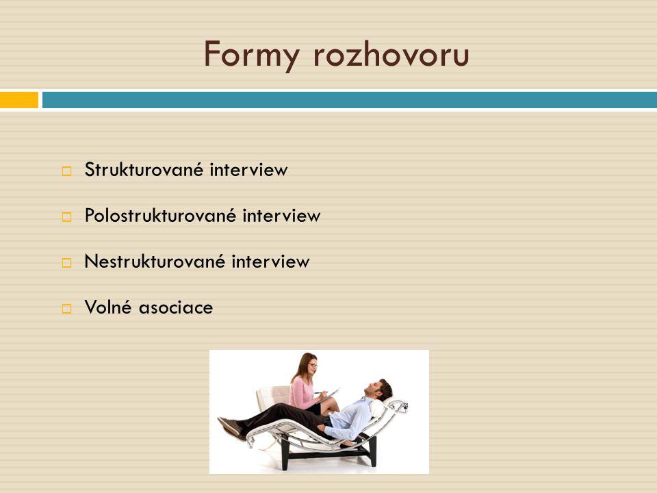 Formy rozhovoru  Strukturované interview  Polostrukturované interview  Nestrukturované interview  Volné asociace