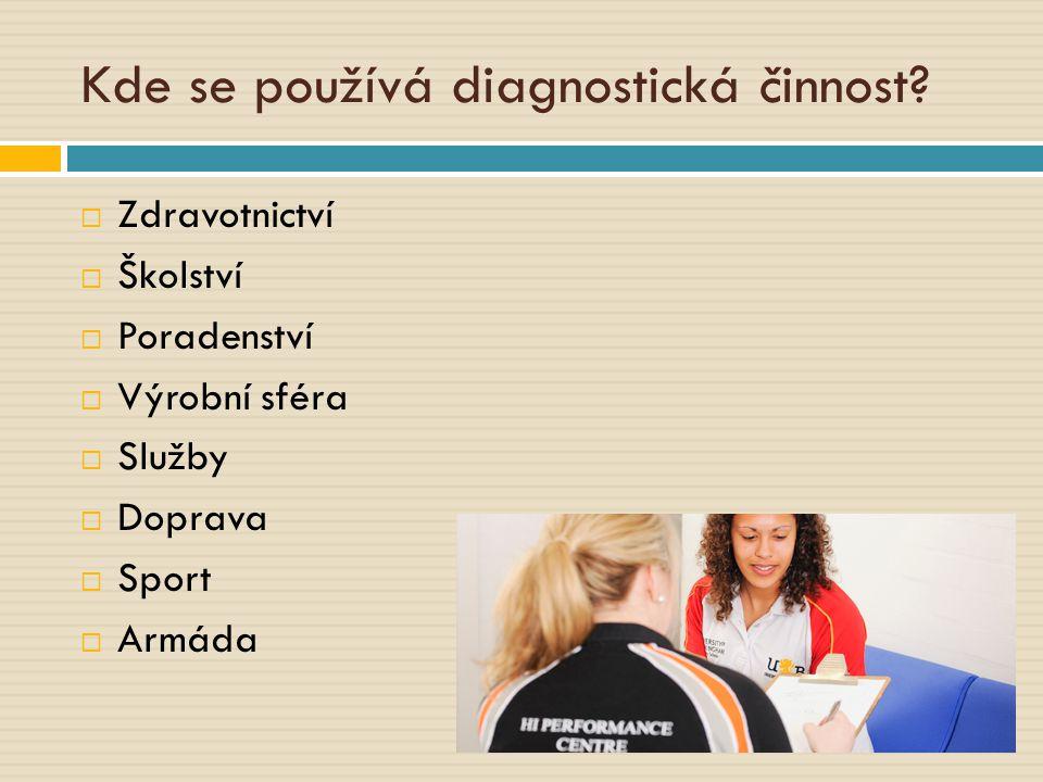 Kde se používá diagnostická činnost?  Zdravotnictví  Školství  Poradenství  Výrobní sféra  Služby  Doprava  Sport  Armáda