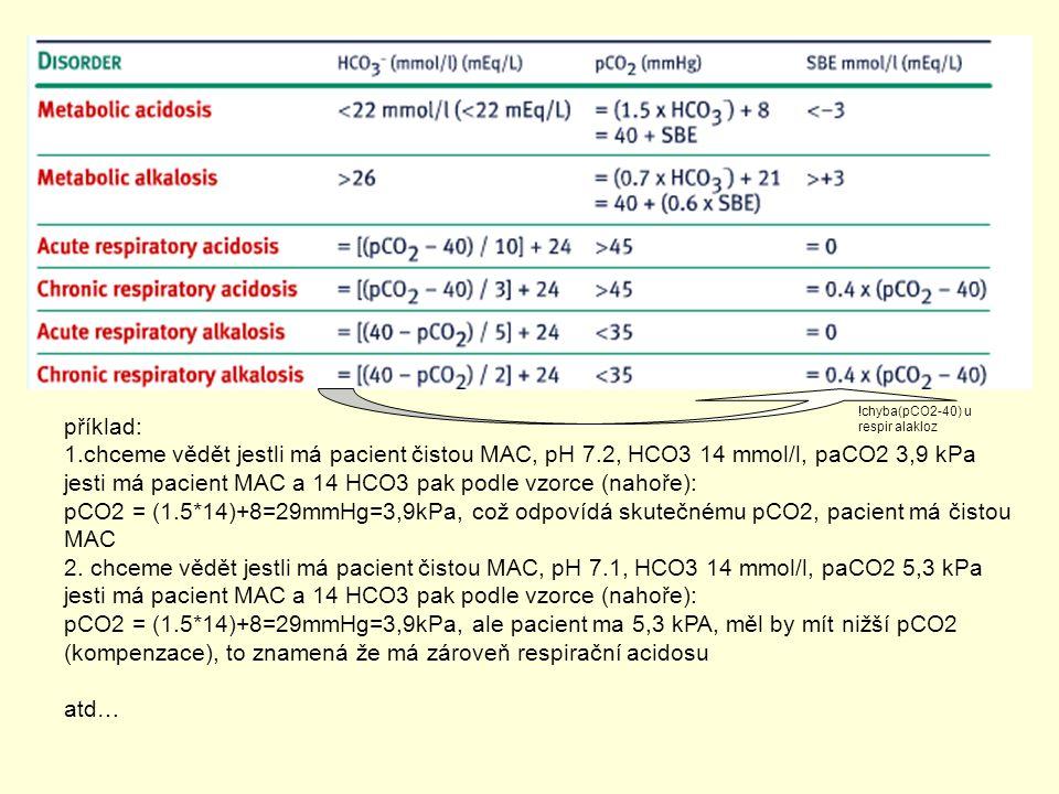 Jak zjist jednoduchou poruchu ? příklad: 1.chceme vědět jestli má pacient čistou MAC, pH 7.2, HCO3 14 mmol/l, paCO2 3,9 kPa jesti má pacient MAC a 14