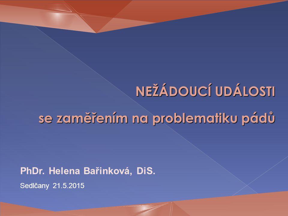 NEŽÁDOUCÍ UDÁLOSTI se zaměřením na problematiku pádů PhDr. Helena Bařinková, DiS. Sedlčany 21.5.2015